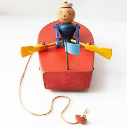 Vintage Original Fisher-price 730 Wood Row Boat With Sailor Pull Toy From 1952