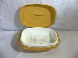 Tupperware Harvest Gold And White 3 Pc Meals In Minutes Microsteamer