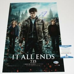 Daniel Radcliffe Signed Harry Potter Deathly Hallows Part 2 Movie Poster Bas Coa