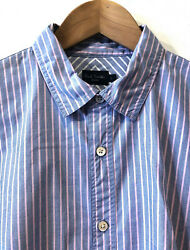 Superb Paul Smith Long Sleeves Baby Blue Pink Stripes 17 Size L Slim Fit