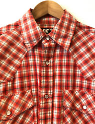 Superb Dkny Wester Long Sleeves Red White Plaid Check Shirt 17,5 Size L