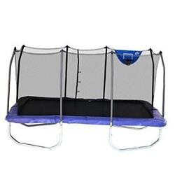 - Rectangle Jump-n-dunk Trampoline With Enclosure 9and039 X 15and039 Blue With Hoop