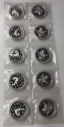 One Mint Sealed Sheet 10 Pieces Of China 1997 1oz Silver Coins - Unicorn
