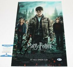 Daniel Radcliffe Signed Harry Potter Deathly Hallows 2 Movie Poster Beckett Coa