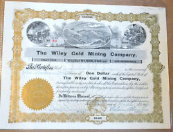 The Wiley Gold Mining Company 1906 Antique Stock Certificate