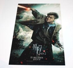 Daniel Radcliffe Signed Harry Potter And The Deathly Hallows Pt 2 Movie Poster Coa