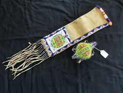 Native American Beaded Turtle Leather Pipe Bag And Matching Fetish Pe-032105290