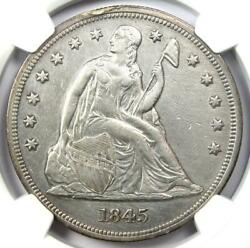 1845 Seated Liberty Silver Dollar 1 Coin - Certified Ngc Au Detail - Rare Date