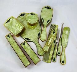 Old Art Deco Celluloid Green Pearlizedandblack 11pc Dresser Set Toothbrush Boxes +