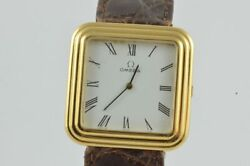 Omega Vintage Menand039s Watch 1 1/4in Hand Wound 18k 750 Solid Gold Nice Condition