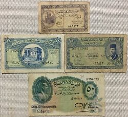 19401941 Egypt Banknotefaroukegyptian Banknotes5 And 10 And 50 Piastres Note X 4