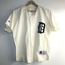 Vintage Russell Athletic Detroit Tigers 100 Cotton Mlb Baseball Jersey Sz L