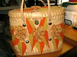 Vintage Straw Beach Tote Market Bag Flower Embellished Woven Raffia 13quot; x 11quot; $18.50