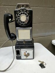 Auth Rare 1960and039s Automatic Electric Black Rotary Dial Pay Phone W/ 3 Coin Slot