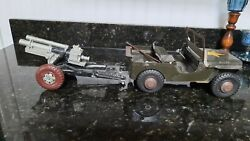 Big 1950's Marx Lumar Metal Willys Jeep And Cannon Almost 70 Years Old