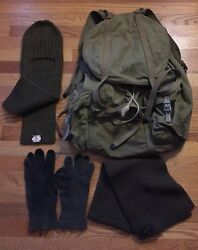 Vintage Wwii Us Mountain Rucksack Field Pack Backpack, Scarf, Gloves, Balaclava.