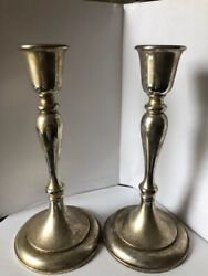 Set Of 2 Gorham Silver Plated Formal Candle Stick Holders, Traditional Farmhouse