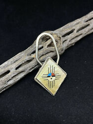Native American Zuni Mother If Pearl Zia Symbol Sterling Silver Key Ring