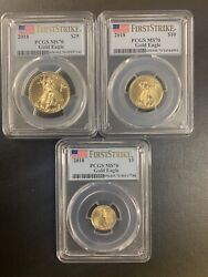 2018 Pcgs Gold Eagle Ms70 First Strike 3 Coins Set