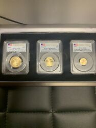 2016 Pcgs Gold Eagle Ms70 First Strike 30 Anniversary 3 Coins Set