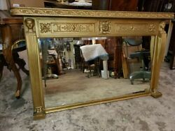 Large Early 1900and039s Antique Gold Mantle Mirror - Egyptian Revival