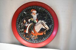 Vintage Santa Of The Northern Forest Tin Tray Magic Of Christmas Litho Print