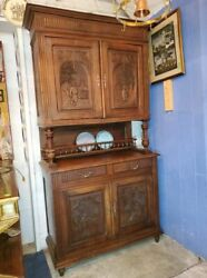 Antique Dutch Kitchen Cupboard – Carved Doors – Very Well Made