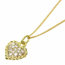 And Necklace Heart Diamond K18 Yellow Gold