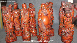 10 Chinese Boxwood Wood Carving Myth Eight Immortal Immortals God Statue Set