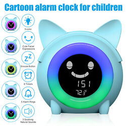 Digital Alarm Clock Thermometer Snooze LCD 5 Color LED Light For Children Sleep