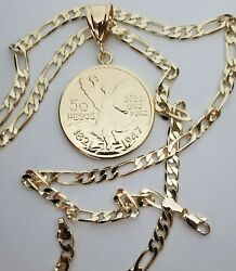 Gold Plated Coin 50 Pesos- Centenario Pendant With 24andrdquo Figaro Plated Chain