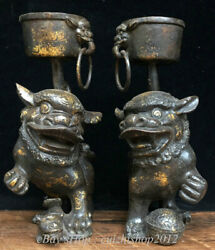 8 Old China Bronze Dynasty Feng Shui Foo Dog Lion Beast Ring Candlestick Pair