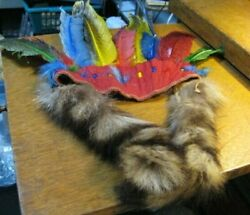 Vintage Indian Headdress Boy, Girl Scout Ceremonial Feathers And Fur Tails