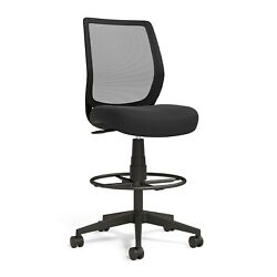 Union And Scale Essentials Mesh Back Fabric Drafting Stool Black Un59386