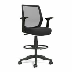 Union And Scale Essentials Mesh Back Fabric Drafting Stool Black Un59384
