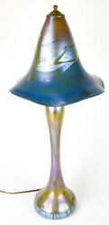 S.fellerman Art Glass Lamp And Shade Signed