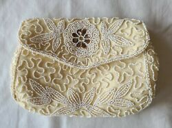 Vintage Walborg Beaded Yellow Clutch Satin Lined Hand Made In Germany Preowned