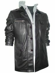 Man New Soft Lamb Black Leather Hooded Overcoat Double Collar With Hood 2016