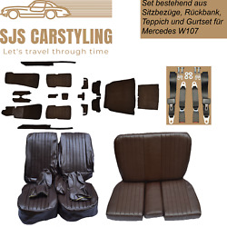 Seat Covers + Back + Carpet With Insulation + Strap Braun For Mercedes Sl R/w107