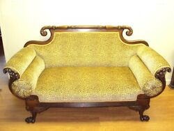 Antique Couch Sofa Settee Walnut Empire Style Claw Feet Griffon Ca. 1840andnbsp