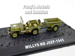 3.25 Inch Willys Mb Jeep With Bantam T3 Trailer - Usmc 1/72 Scale Diecast Model