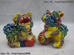 Taiwan Cochin Pottery Colorful Porcelain Feng Shui Foo Dog Lion Hold Ball Pair