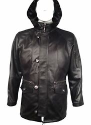 1104 Luxury Soft Lamb Leather Duffle Coats With Hood For Man