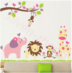 Decorate kids cartoon animals wall tree stickers removable room window decals