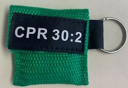 50 Green W/ Black Cpr Face Shield Mask In Pocket Keychain Imprinted Cpr 302