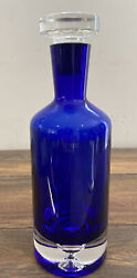 Bottle Decanter Ultimat Vodka Cobalt Blue Crystal With Stopper 11 Tall Empty
