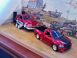 124 Scale Diecast3 Pc.set '99 Ford Lightning Pickup,1989 Mustang Gt And Trailer