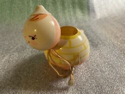 Vtg Art Deco Turtle Baby Rattle Crib Toy Plastic Or Celluloid Pink Yellow Doll