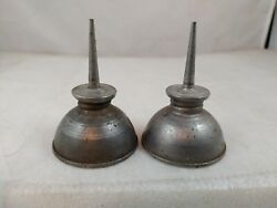 2 Vintage Small Metal Oilers 2 3/4 Tall 1 7/8 Base Handy Oil Cans D1