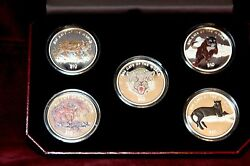 Sierra Leone 10 Sterling Silver Big Cats Of The World Multi- Colored 5 Coins